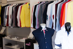 Apparel store with men shirts Royalty Free Stock Photos