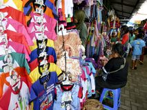 Apparel. Traders sell apparel at a souvenir market in the city of Solo, Central Java, Indonesia Stock Photo