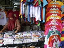 Apparel. Traders sell apparel at a souvenir market in the city of Solo, Central Java, Indonesia Royalty Free Stock Photography