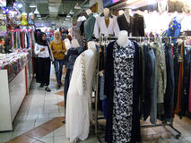 Apparel. A variety of apparel sold in a shopping center in the city of Solo, Central Java, Indonesia Stock Photography