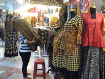 Apparel. A variety of apparel sold in a shopping center in the city of Solo, Central Java, Indonesia Stock Photo