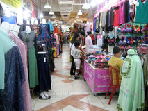 Apparel. A variety of apparel sold in a shopping center in the city of Solo, Central Java, Indonesia Stock Image