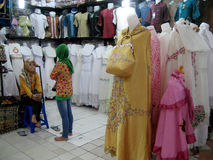 Apparel. A variety of apparel sold in a shopping center in the city of Solo, Central Java, Indonesia Royalty Free Stock Photos
