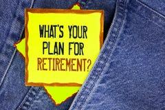 Apparence conceptuelle d'écriture de main ce qui EST votre plan pour la question de retraite Pensée de présentation de photo d'af Photo libre de droits
