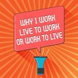 Apparence conceptuelle d'écriture de main pourquoi je travaille Live To Work Or Work pour vivre Identification de présentation de illustration de vecteur