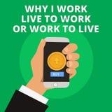Apparence conceptuelle d'écriture de main pourquoi je travaille Live To Work Or Work pour vivre Texte de photo d'affaires définis illustration libre de droits