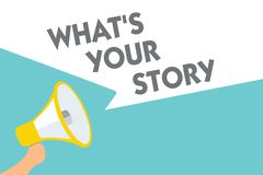 Apparence conceptuelle d'écriture de main quel s est votre histoire Le texte de photo d'affaires demandant à quelqu'un m'indiquen illustration de vecteur