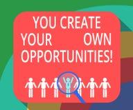 Apparence conceptuelle d'écriture de main vous créez vos propres occasions La présentation de photo d'affaires soit le créateur d illustration libre de droits