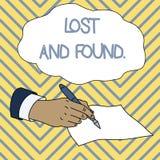 Apparence conceptuelle d'?criture de main perdue et trouv?e Photo d'affaires présentant un endroit où des articles perdus sont st illustration de vecteur