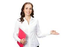 Apparence de femme d'affaires, sur le blanc photographie stock