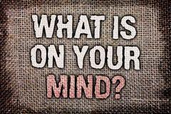 Apparence de note d'écriture ce qui est sur votre question d'esprit La présentation de photo d'affaires large d'esprit pense à l' Image stock
