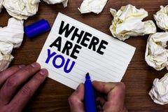 Apparence de note d'écriture où êtes vous La présentation de photo d'affaires nous donnent votre point de direction d'adresse d'e images stock