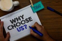 Apparence de note d'écriture pourquoi choisissez-nous question Les raisons de présentation de photo d'affaires de choisir notre m image libre de droits