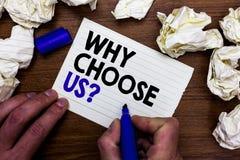 Apparence de note d'écriture pourquoi choisissez-nous question Les raisons de présentation de photo d'affaires de choisir notre m photos libres de droits