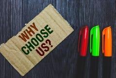 Apparence de note d'écriture pourquoi choisissez-nous question Raisons de présentation de photo d'affaires de choisir notre marqu photos libres de droits