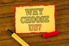 Apparence de note d'écriture pourquoi choisissez-nous question Raisons de présentation de photo d'affaires de sélectionner nos pr photos libres de droits