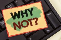 Apparence de note d'écriture pourquoi pas question La présentation de photo d'affaires me donnent qu'une raison de ne pas faire q Image stock