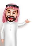 Apparence heureuse de port de thobe d'homme de caractère saoudien de vecteur vide Photos stock