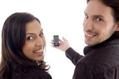 apparence heureuse par téléphone d'amis de cellules Photo libre de droits