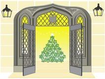 Apparence ouverte de trappe antique un arbre de Noël Images stock