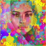 Apparition of Beauty. An apparition of beauty through a splattered paint, abstract background Royalty Free Stock Image