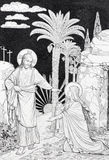 The Apparition of the Lord to Mary of Magdalen lithography Stock Images