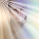 Apparition of Mary. An artistic rendering of a spiritual vision of Mary. A gradient background and rays of light add to the surreal feeling of the scene Royalty Free Stock Photography