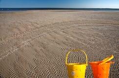 Appartamenti della sabbia lungo il puntello del lago Winnipeg Fotografia Stock