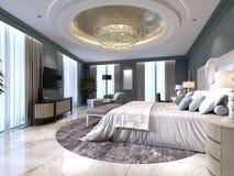Appartamenti di lusso con un'area di vita e della camera da letto nello stile contemporaneo con gli elementi classici, le pareti  illustrazione vettoriale