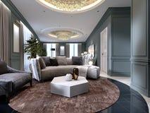 Appartamenti di lusso con un'area di vita e della camera da letto nello stile contemporaneo con gli elementi classici, le pareti  illustrazione di stock
