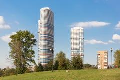 Appartamenti tricolori a Mosca Fotografie Stock Libere da Diritti