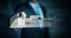 Appartamento commovente della rappresentazione di bianco 3D dell'uomo d'affari Immagine Stock