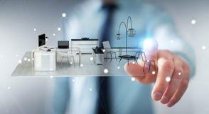 Appartamento commovente della rappresentazione di bianco 3D dell'uomo d'affari Immagini Stock Libere da Diritti