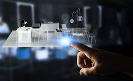Appartamento commovente della rappresentazione di bianco 3D dell'uomo d'affari Fotografie Stock