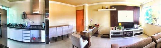 Appartamento con una stanza della cena immagini stock libere da diritti