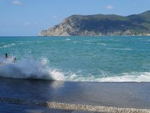 Appartamento del mare & di Sun in Cinque Terre fotografia stock libera da diritti