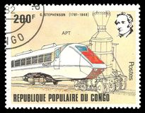Appartamento del treno di George Stephenson immagine stock libera da diritti