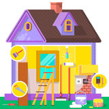 Appartamento di rinnovamento Interno e riparazioni domestici a casa Illustrazione di vettore in uno stile piano Fotografie Stock