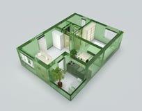 Appartamento di vetro verde Immagine Stock