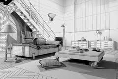Appartamento di Wireframe Immagini Stock