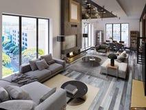 Appartamento a due livelli del salone con area pranzante e area della TV e grande camino nello stile del sottotetto illustrazione vettoriale