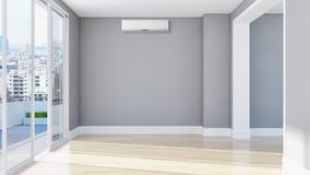 Appartamento interno moderno con condizionamento d'aria 3D che rende ill fotografie stock