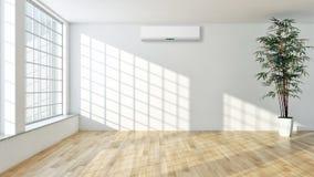 Appartamento interno moderno con condizionamento d'aria 3D che rende ill fotografia stock libera da diritti