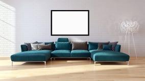 Appartamento luminoso moderno degli interni con la struttura 3D del manifesto del modello con riferimento a illustrazione vettoriale