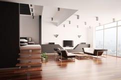 Appartamento moderno 3d interno Fotografia Stock Libera da Diritti