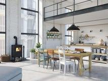 Appartamento moderno del sottotetto rappresentazione 3d immagini stock