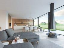 Appartamento moderno del sottotetto rappresentazione 3d Immagine Stock