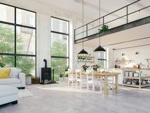 Appartamento moderno del sottotetto rappresentazione 3d fotografia stock libera da diritti