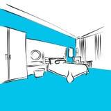 Appartamento moderno, re Size Bed, serie blu Fotografie Stock Libere da Diritti