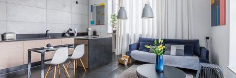 Appartamento multifunzionale con la cucina fotografie stock libere da diritti